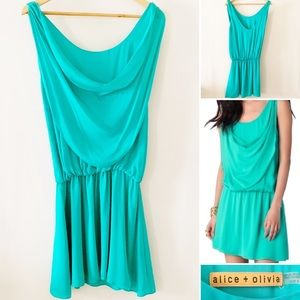 Alice + Olivia Teal 100% Silk Blouson Dress Medium